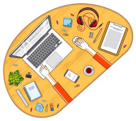 Office worker or entrepreneur working on a laptop computer, top view of workspace desk with human hands and diverse stationery objects. All elements are easy to use separately. Vector illustration.