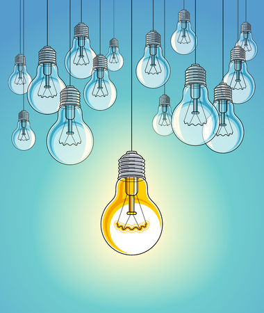 Idea concept, think different, light bulbs group vector illustration with single one is shining, creative inspiration, be special, leadership. Stock Vector - 124973734