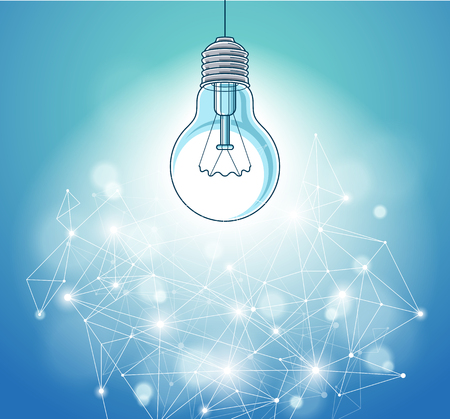 Light bulb and connection lines low poly design, innovative idea concept, modern or future technology, vector design. Imagens - 124973736