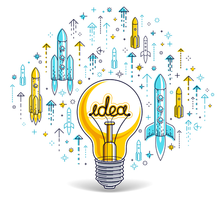 Shining light bulb and set of launching rockets, startup ideas creative concept, e-commerce allegory, new business, marketplace or online shop, vector illustration. Imagens - 124973737