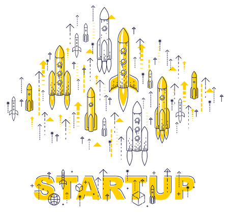 Startup rockets take off, space rockets flying start up business concept, vector illustration. Imagens - 124973738