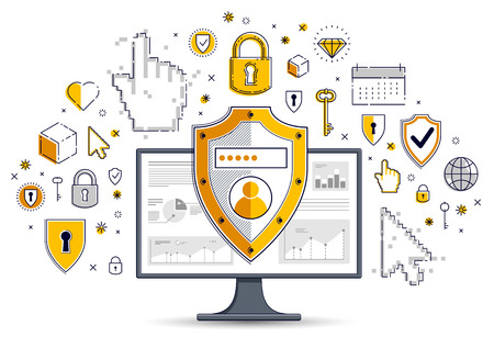 Shield over computer monitor and set of icons, private data security concept, antivirus or firewall, finance protection, vector flat thin line design, elements can be used separately. Imagens - 124973741