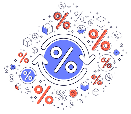 Percent symbol and loop arrow, taxes, return on investment, refund, stock market, refinance, bookkeeping and accounting, vector design. Ilustração