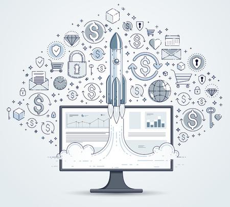 El cohete de inicio despega sobre el monitor de la computadora y el conjunto de iconos, el vuelo del cohete espacial pone en marcha el concepto de negocio de Internet, las finanzas en línea, el mercado o la tienda, la ilustración vectorial.