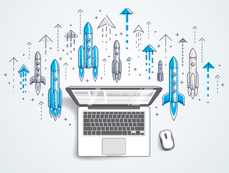 Startup rockets take off over laptop, space rockets flying start up internet business concept, online finance, marketplace or shop, vector illustration. Imagens - 124973749