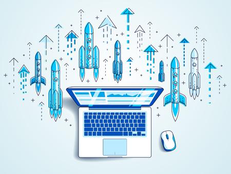 Startup-Raketen starten über Laptop, Weltraumraketen fliegen Start-up-Internet-Business-Konzept, Online-Finanzen, Marktplatz oder Shop, Vektorgrafik.