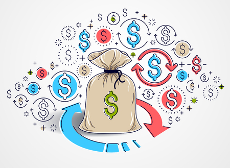 Money bag with loop arrow and icon set vector design, savings or investments concept, currency exchange, return on investment, insurance concept, marketplace or shop.