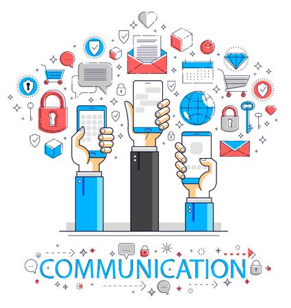 Internet communication and activity, people hands holding phones and using apps, global network, modern communication, messenger or social media concept, vector design. Ilustração
