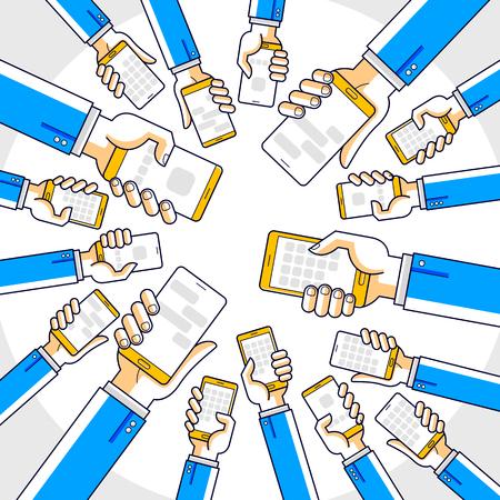 Internet communication and activity, people hands holding phones and using apps, global network, modern communication, messenger or social media concept, vector design. Illustration