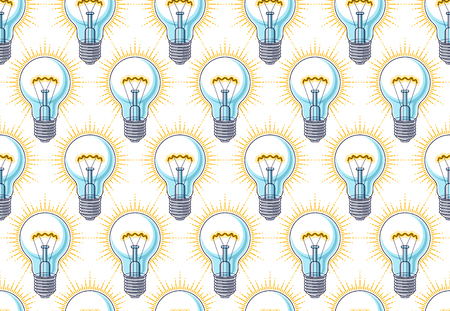 Light bulbs seamless background, creative ideas website concept, vector wallpaper or web site background.