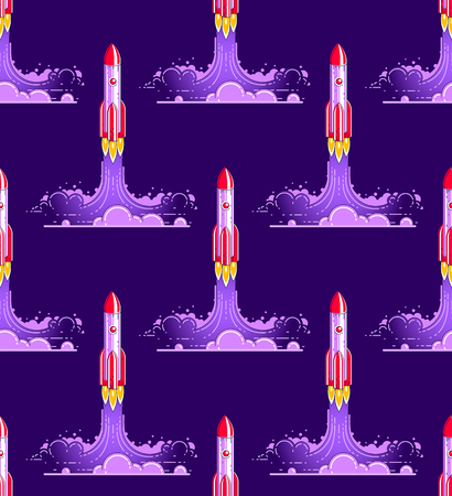 Rockets launches seamless background, science and space theme, business startups concept, vector wallpaper or web site background.