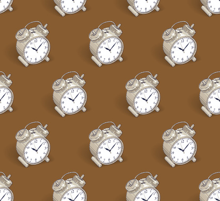 Alarm clocks seamless background, timer, deadline hurry and wake up concept, vector wallpaper or web site background. Çizim