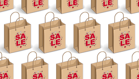 Shopping bags seamless background, backdrop for marketplace or online shop website, seasonal sale clearance theme, vector wallpaper or web site background.
