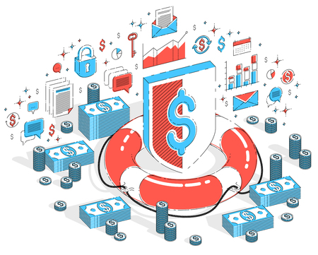 Financial safety and protection concept, Life Buoy and Shield with cash money stack and coins isolated on white. Isometric 3d vector finance illustration with icons, stats charts and design elements.