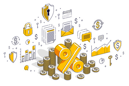 Percentage rate income profit concept, percent symbol with cash money stack isolated on white background. Isometric 3d vector finance illustration with icons, stats charts and design elements.