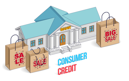 Consumer credit concept, bank building with shopping bags isolated on white background, banking theme. Isometric vector business and finance illustration, 3d thin line design.