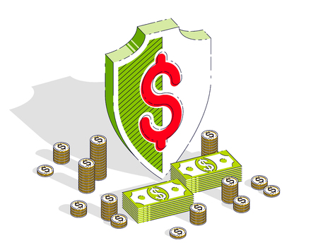 Protection of finance concept, Guard metal Shield with cash money dollar stack and coins isolated on white background. Vector 3d isometric business and finance illustration.