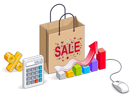 Online Shop concept, web store, internet sales, Shopping bag with pc mouse, calculator and growth chart isolated on white. Isometric vector business and finance illustration, 3d thin line design.