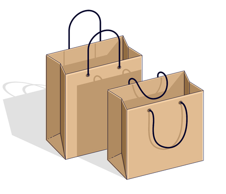 Shopping bags big sale, sellout, retail, Black Friday discount, eco paper bag isolated on white background. Vector 3d isometric illustration, thin line design.