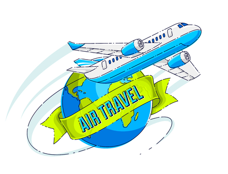 Airlines air travel emblem or illustration with plane airliner, planet earth and ribbon with typing. Beautiful thin line vector isolated over white background.