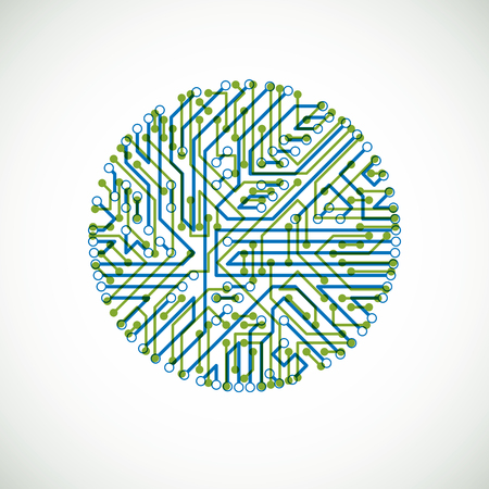 Round circuit board with electronic components of technology device. Computer motherboard cybernetic colorful vector abstraction. Illusztráció