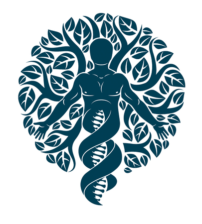 Vector individual, mystic character deriving from DNA strands and made with eco tree leaves. Human, science and ecology interaction, technology and nature balance. Ilustração