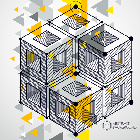 Template 3D yellow design layout for brochure , flyer , poster, advertising, cover, vector abstract modern background. Composition of cubes, hexagons, squares, rectangles and different abstract elements. Vectores
