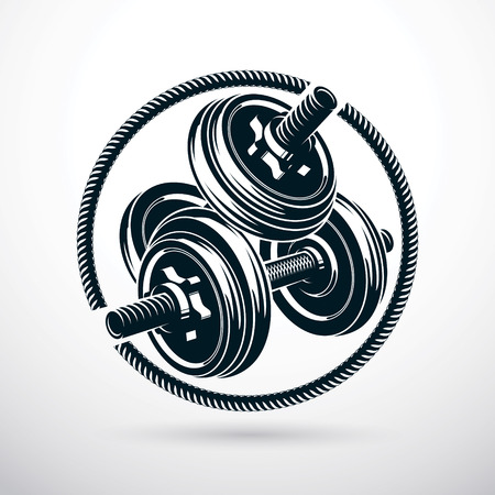 Dumbbell with disc weight vector illustration. Cross fit and bodybuilding sport equipment.