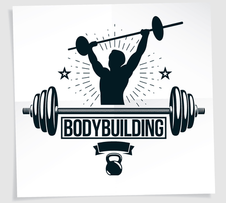Bodybuilding championship advertising leaflet composed using vector illustration of muscular athlete holding barbell.
