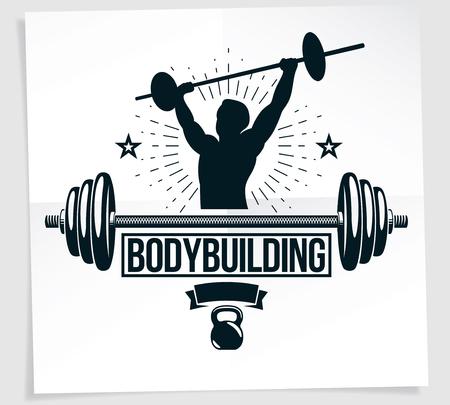Folleto de publicidad del campeonato de culturismo compuesto por ilustración vectorial de atleta musculoso con barra