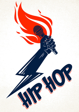 Rap music vector logo or emblem with microphone in hand flames and lightning bolt, hot Hip Hop rhymes festival concert or night club party label, t-shirt print. Ilustração
