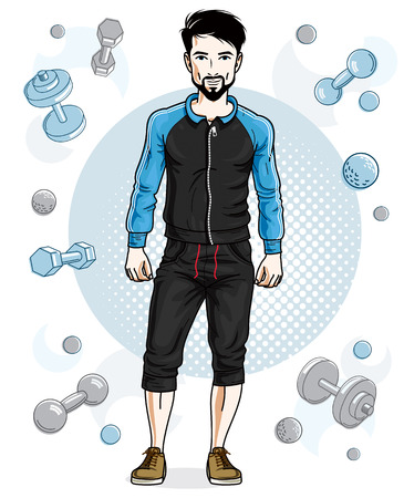 Happy brunet young adult man with beard and mustaches is standing on simple background with dumbbells and barbells. Vector character, sport and fitness theme. Ilustracja