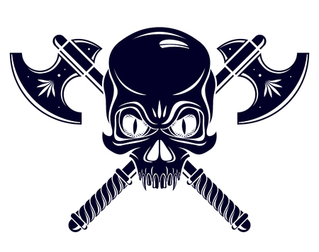 Aggressive skull pirate emblem Jolly Roger with weapons, vector vintage style logo or tattoo dead head.