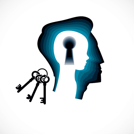 Psychology, mental health vector design, created with man head profile and little child boy inside with keyhole, inner child as a key to human individuality and psychic problems concept. Illustration