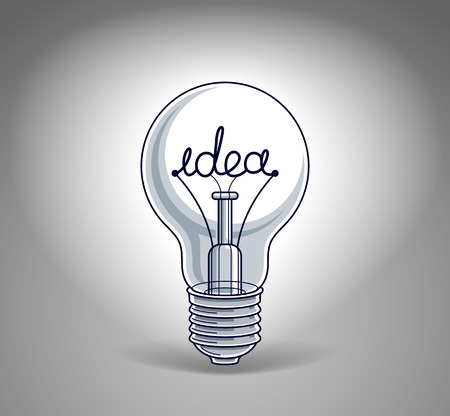 Light bulb concept with idea word instead of tungsten wire, beautiful vector illustration. Illustration