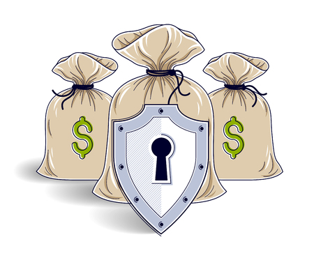 Shield over 3 money bags,  financial security concept, business and finance protection, investments credits and deposit banking idea, vector design.