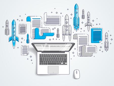 Startup rockets take off over laptop, space rockets flying start up internet business concept, online finance, marketplace or shop, vector illustration.
