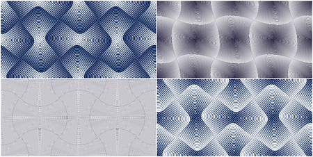 Abstract lines geometric seamless patterns set, vector repeat endless fabric backgrounds collection. Rounded overlapping squares shapes trendy repeat motif. Single color, black and white. Usable for fabric, wallpaper, wrapping.