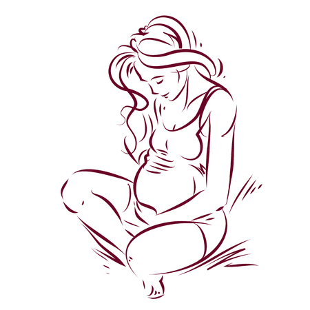 Vector hand-drawn illustration of pregnant elegant woman expecting baby, sketch. Love and fondle theme. Illustration