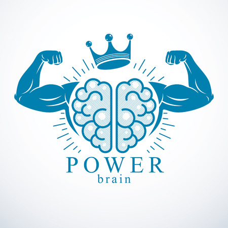 Brain with strong bicep hands of bodybuilder. Illustration