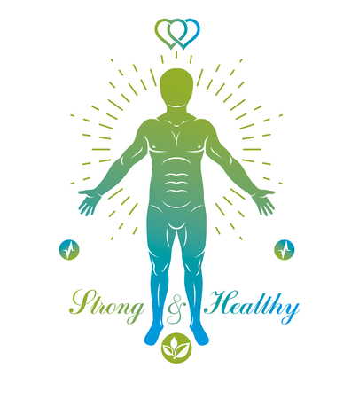 Vector graphic illustration of strong male, body silhouette standing. Creative metaphor of harmony between human and nature powers like water and tree.