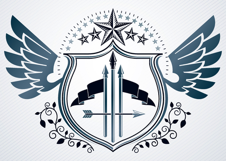 Vector retro insignia design decorated using vintage elements like pentagonal stars and wings Иллюстрация