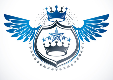 Vintage winged decorative emblem composed using monarch crown and pentagonal stars., heraldic vector.