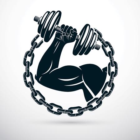 Illustrazione vettoriale del braccio bicipite sportivo atletico che tiene il manubrio e circondato da catena di ferro, simbolo di forza e stile di vita sano. Allenamento fitness.