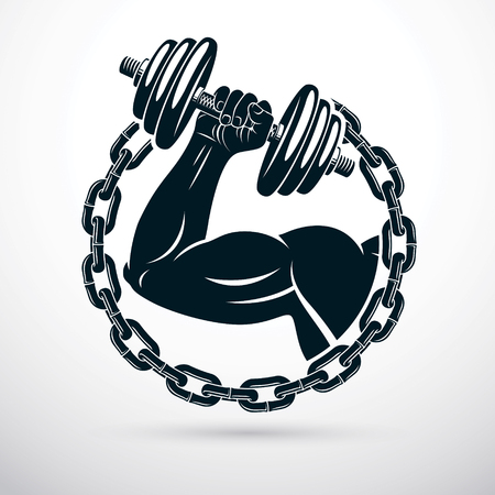 Vector illustration of athletic sportsman biceps arm holding dumbbell and surrounded by iron chain, symbol of strength and healthy lifestyle. Fitness workout.