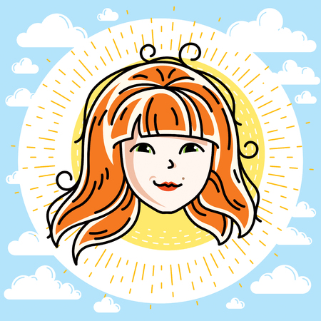 Woman face, human head. Vector character, beautiful red-haired female with stylish haircut.