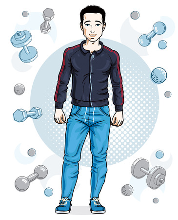 Happy brunet young adult man standing on simple background with dumbbells and barbells. Vector character, sport and fitness theme. Ilustracja