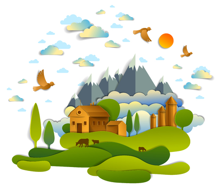 Farm in scenic landscape of fields and trees, mountains peaks and country buildings, birds and clouds in sky, cow milk ranch, countryside lazy summer time vector illustration in paper cut style. Illustration