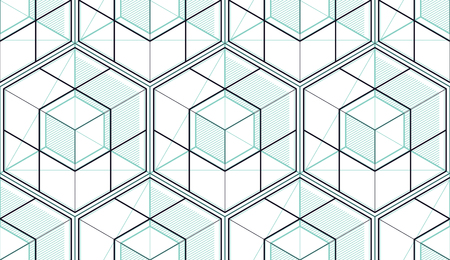 Geometric cubes abstract seamless pattern, 3d vector background. Technology style engineering line drawing endless illustration. Usable for fabric, wallpaper, wrapping, web and print.  イラスト・ベクター素材