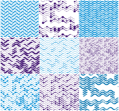 Wavy technical lines seamless patterns set, vector abstract repeat endless backgrounds collection, blue colored rhythmic waves.